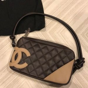 Chanel Dark Brown & Tan Quilted Small Clutch Bag